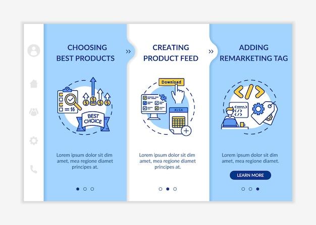 Onboarding-vorlage für den markenaufbau. beste produktauswahl, erstellung von produkt-feeds, remarketing-tag. reaktionsschnelle mobile website mit symbolen.