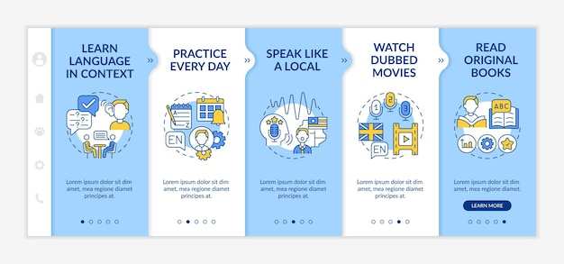 Onboarding-vorlage für fremdsprachen-tipps. lernen im kontext. sprechen wie vor ort. reaktionsschnelle mobile website. walkthrough-schrittbildschirme für webseiten. rgb-farbkonzept