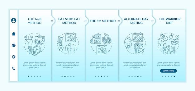 Onboarding-vorlage für intermittierende fastenmethoden. eatstopeat-methode. alternatives fasten am tag. walkthrough-schrittbildschirme für webseiten.
