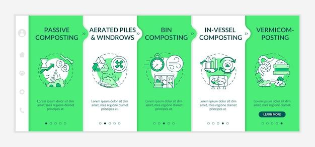 Onboarding-vorlage für zerlegungsmethoden. behälter, im gefäß, passive kompostierung. vermicomposting. reaktionsschnelle mobile website mit symbolen. walkthrough-schrittbildschirme für webseiten. rgb-farbkonzept
