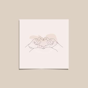 One line hands in love geste