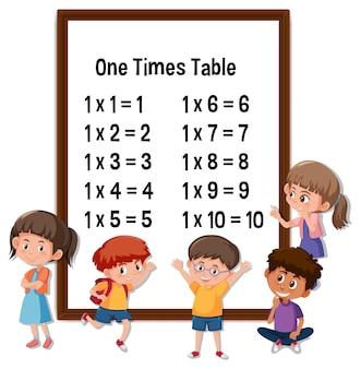 One times table mit vielen kinderzeichentrickfiguren