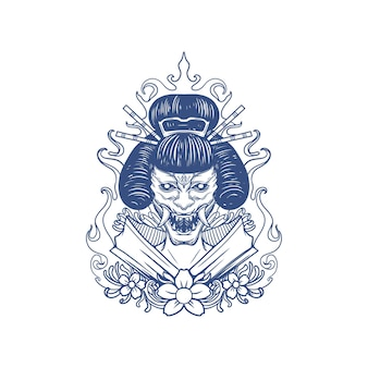 Oni geisha satan horror illustration