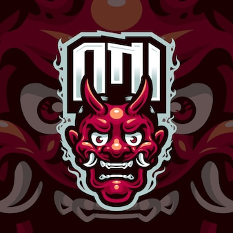 Oni head maskottchen logo für das esport- und sportteam