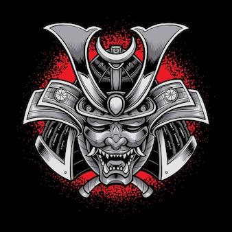 Oni-maske mit samurai-rüstung auf schwarz isoliert