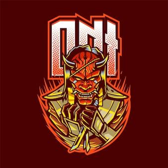 Oni maskottchen logo für esport isoliert auf rot