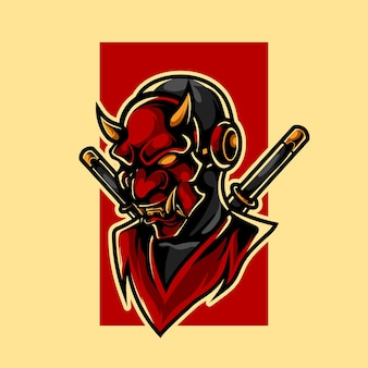 Oni ninja e sport maskottchen logo