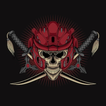 Oni samurai skeleton head helm vector