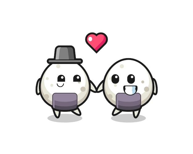 Onigiri-cartoon-charakterpaar mit verliebungsgeste, süßem stildesign für t-shirt, aufkleber, logo-element