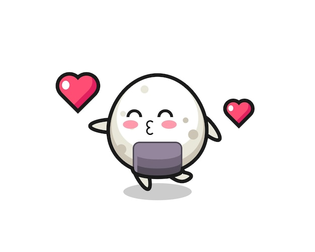 Onigiri-charakterkarikatur mit küssender geste, süßem stildesign für t-shirt, aufkleber, logo-element