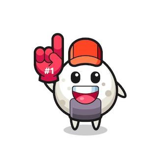 Onigiri illustration cartoon mit nummer 1 fans handschuh, süßes design für t-shirt, aufkleber, logo-element