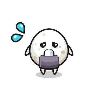 Onigiri-maskottchen-charakter mit ängstlicher geste, süßes design für t-shirt, aufkleber, logo-element