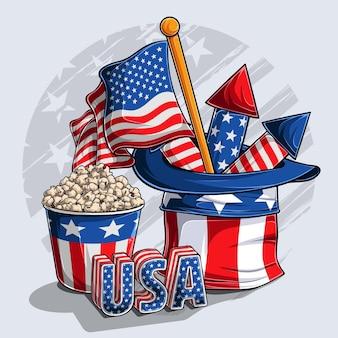 Onkel sam hut mit amerikanischem flaggenfeuerwerk popcorn und usa 3d buchstaben