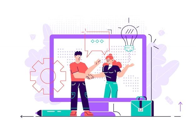 Online-abschluss der transaktion. die eröffnung eines neuen startups. business-handshake per telefon und laptop. illustration in einem flachen stil investor hält geld in ideen online.