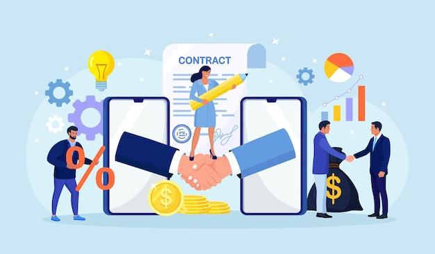 Online-abschluss der transaktion. geschäftsleute händedruck nach erfolgreichen verhandlungen oder vertragsunterzeichnung. online-vereinbarung mit handy zur eröffnung eines neuen startups