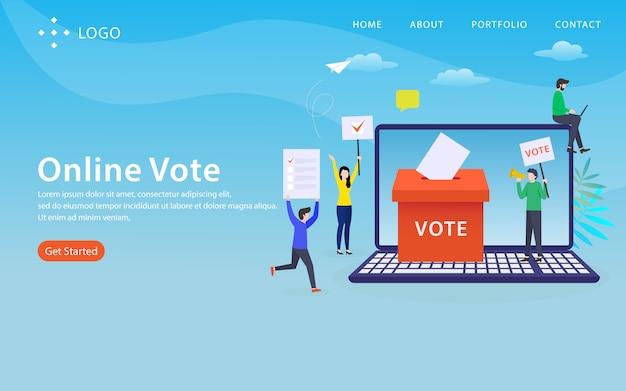 Online-abstimmung, websiteschablone, überlagert, einfach zu bearbeiten und besonders anzufertigen, illustrationskonzept
