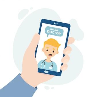 Online ärztliche beratung. ärztliche beratung per videoanruf. arzt konsultiert einen patienten über eine online-bewerbung. hand hält ein smartphone.