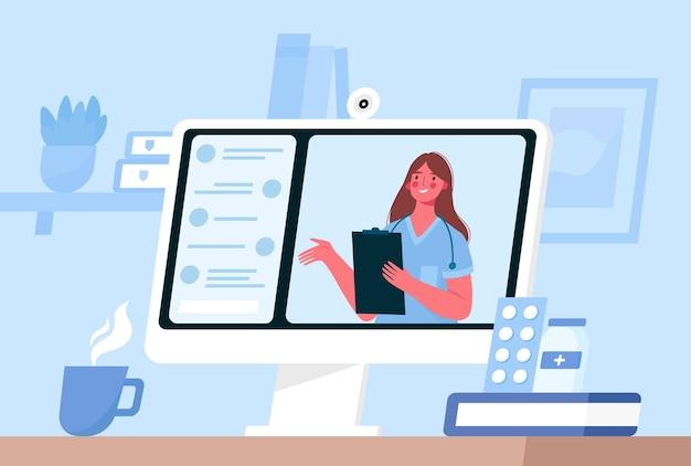 Online ärztliche beratung in flachem design