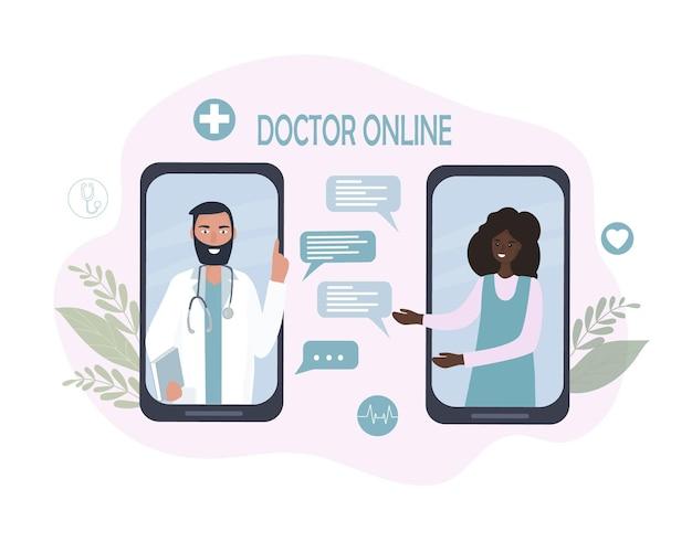 Online-ärztliche beratung und betreuung. telemedizin, fernkommunikation zwischen patient und arzt.