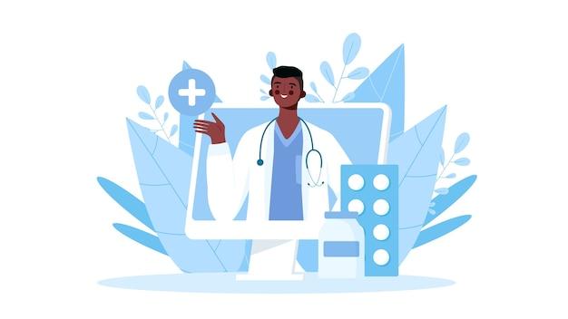 Online ärztliche beratung, unterstützung. online-arzt. gesundheitsdienstleistungen. illustration