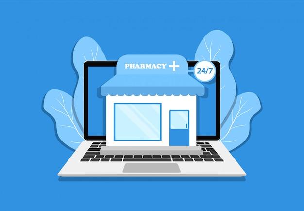 Online-apotheke auf laptop. zu hause bleiben. quarantäne.