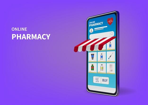 Online-apotheke auf website oder mobiler anwendung einkaufen.