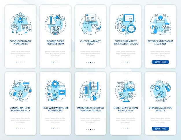 Online-apotheke onboarding mobile app seite bildschirm mit konzepten