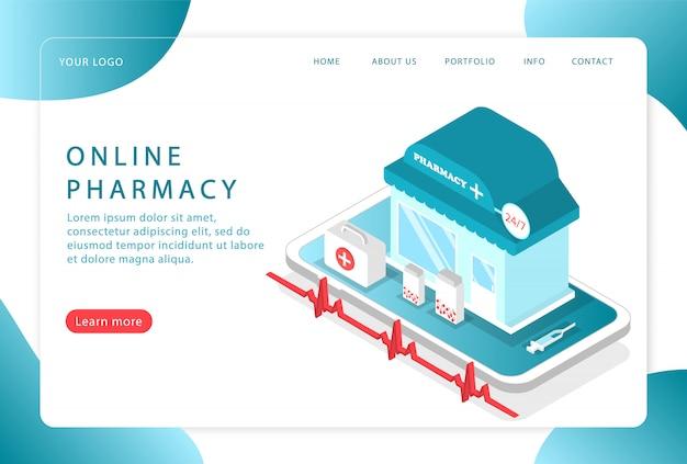 Online-apotheke. online-gesundheitsversorgung. landing page. moderne webseiten für websites.