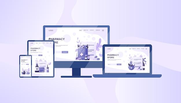 Online-apotheke web-banner auf verschiedenen geräten, computern, laptops, tablets und smartphones. medizin und gesundheitswesen. drogerie-web-banner oder website-schnittstellenidee.