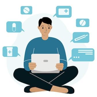 Online-apotheken-service-banner mit mann, der laptop verwendet, um medikamente auf der website zu kaufen. ein mann sitzt im schneidersitz mit einem laptop und bestellt online medikamente. flache vektorgrafik