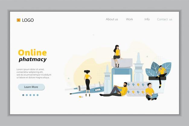 Online-apotheken-site-design-konzept. flache illustration mit kleinen zeichen für website-design, banner, landing page. kaufen sie medikamente und medikamente online. e-commerse site design.
