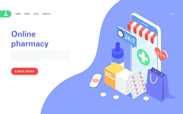 Online-apothekenkonzept-banner medikamente online kaufen handy mit medikamenten