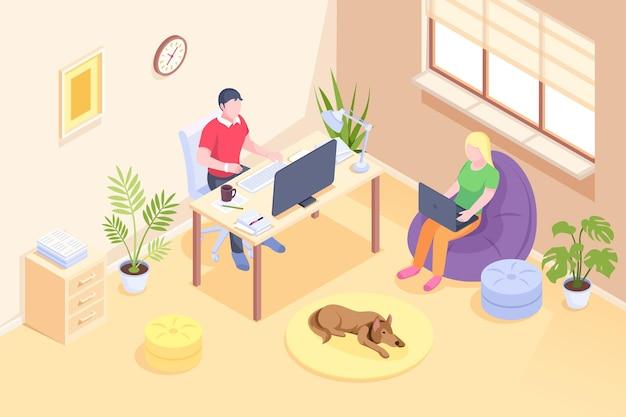 Online-arbeitspaar freiberufliche home-office-isometrische designfrau, die von zu hause aus arbeitet
