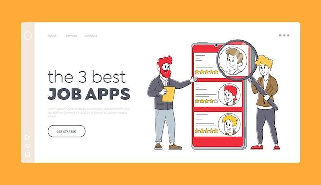 Online-arbeitsvermittlung app, rekrutierung und headhunting landing page template