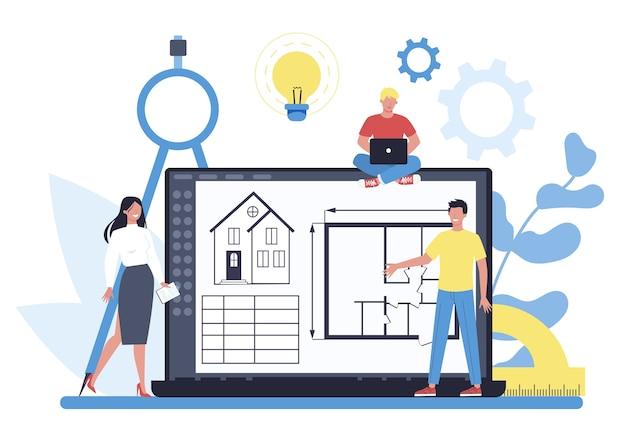 Online-architekturplattform auf unterschiedlichem gerätekonzept. idee des bauprojekts und der bauarbeiten. schema des hauses, ingenieurindustrie. bauunternehmensgeschäft. vektorillustration