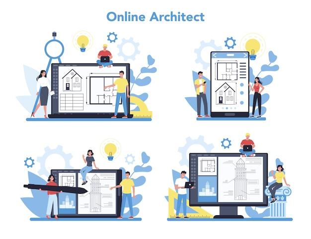 Online-architekturplattform auf unterschiedlichem gerätekonzept. idee des bauprojekts und der bauarbeiten. schema des hauses, ingenieurindustrie. bauunternehmensgeschäft.