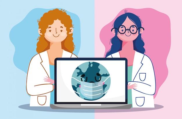 Online-arzt, ärztinnen mit laptop verbunden welt covid 19
