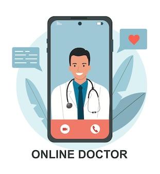 Online-arzt mann im smartphone