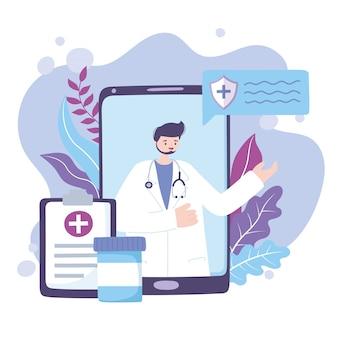 Online-arzt, medizinischer arzt-smartphone-bericht und beratung oder beratung zu medikamenten