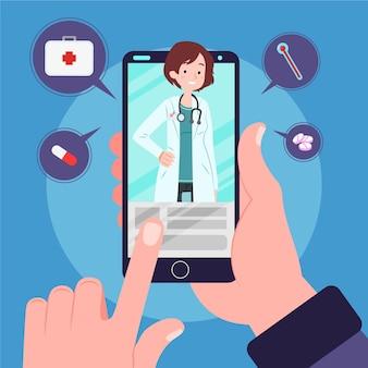 Online-arzt mit smartphone