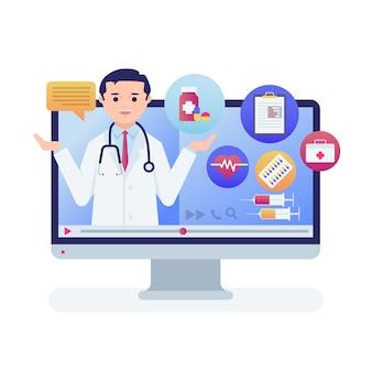 Online-arzt mit stethoskop