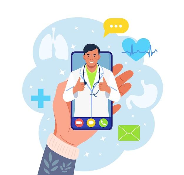 Online-arzt. virtuelle medizin. mobile app für den anruf beim arzt.