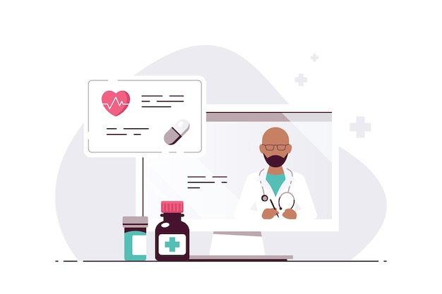 Online-arztkonzept, beratung und diagnose. arzt des schwarzen mannes auf dem bildschirm des computers. flache illustration isoliert