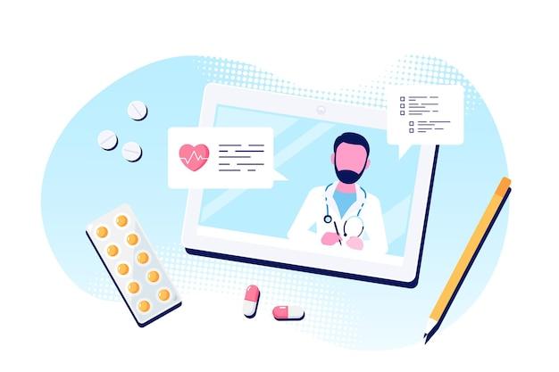 Online-arztkonzept, beratung und diagnose. kaukasischer manndoktor auf tablet-bildschirm. flache illustration isoliert