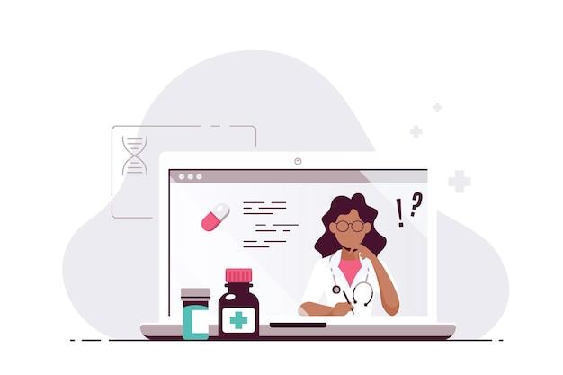 Online-arztkonzept, beratung und diagnose. schwarze ärztin auf laptop-bildschirm. flache illustration isoliert