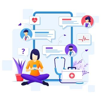 Online-arztkonzept, online-illustration zur medizinischen gesundheitsversorgung