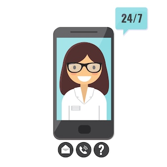 Online-arztkonzept. patientenberatung per smartphone, anwendung für medizinische unterstützung.
