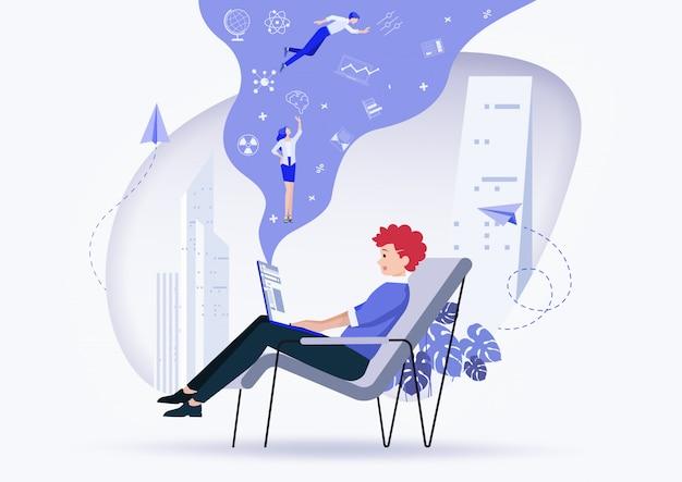 Online-assistent bei der arbeit. werbung im netzwerk. illustration.