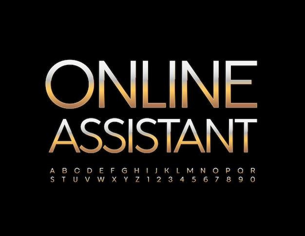 Online-assistent metallic gold schrift elite alphabet buchstaben und zahlen eingestellt