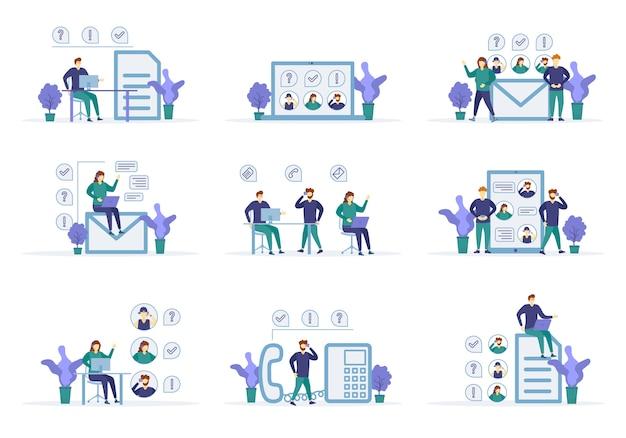 Online-assistent, virtueller hilfedienst. call center mit personencharakteren in verschiedenen szenen. kommunikation zwischen persönlichem assistenten und hotline-betreiber. konzept kundenservice, unterstützung. .